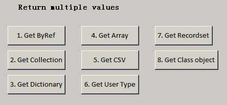 8 ways to return multiple values from a VBA function (Part 3