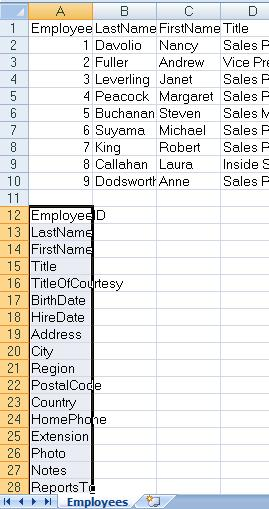 How to get a list of field names in MS Access table the easiest way
