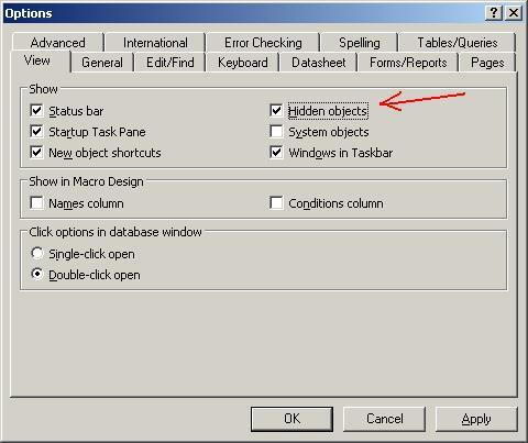 How to hide and unhide a MS Access object (Tables, Queries